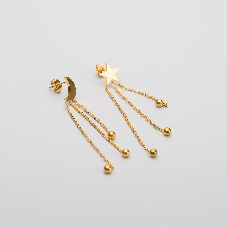 Pendiente star & moon long gold
