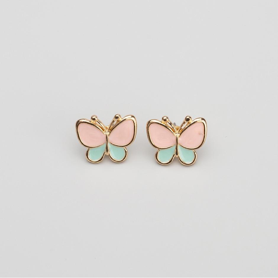 Pendiente mariposa rosa y verde