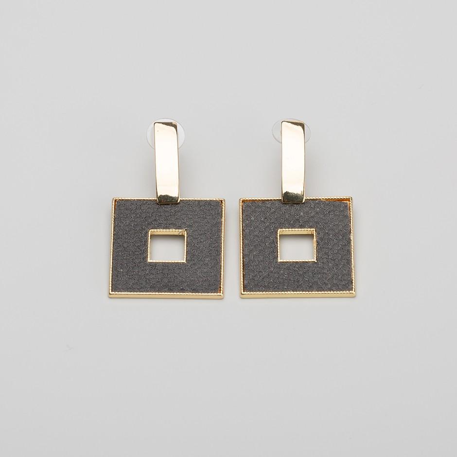 Pendiente square gris