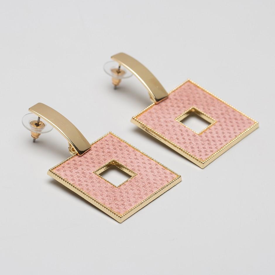 Pendiente square rosa