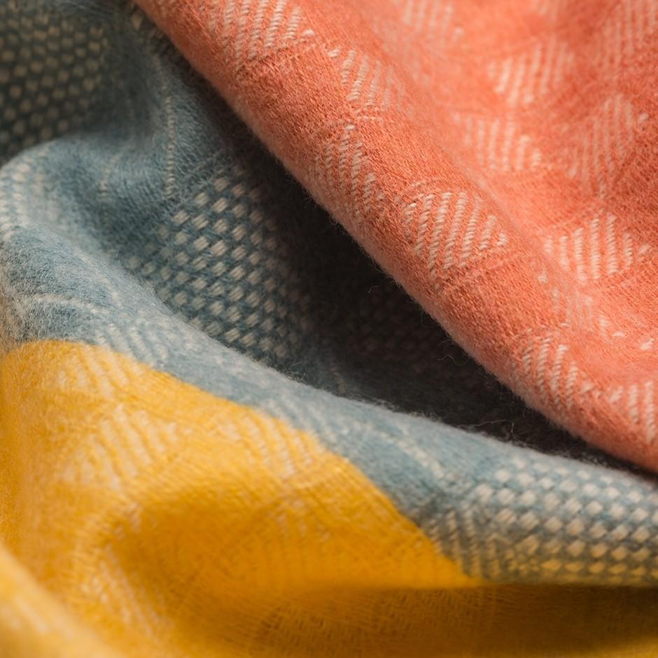 Bufanda azul y mostaza