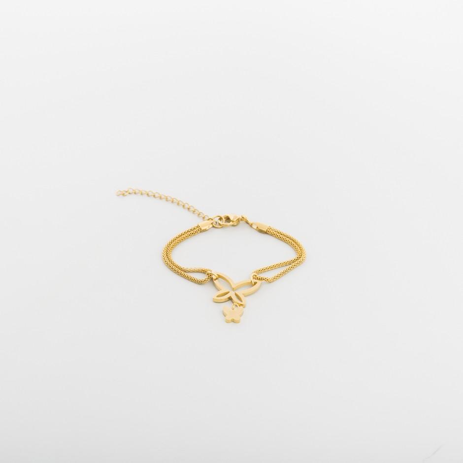 Pulsera acero mariposa dorada
