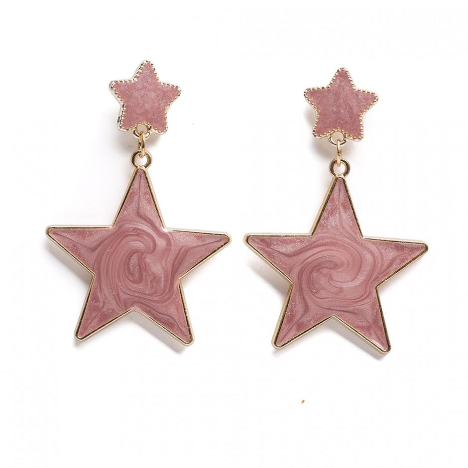 Pendiente estrellas malva