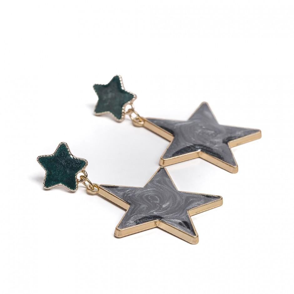 Pendiente estrellas gris plomo