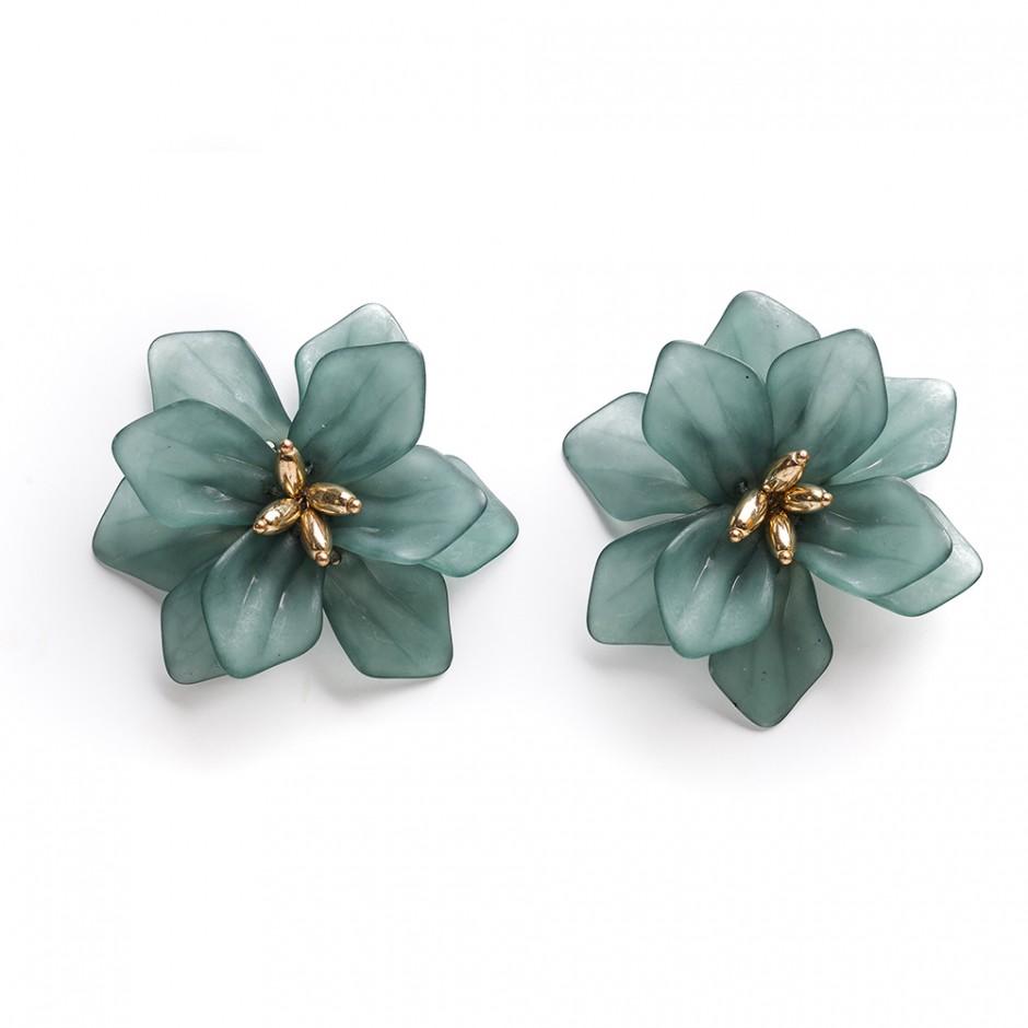 Pendiente flor maxi verde