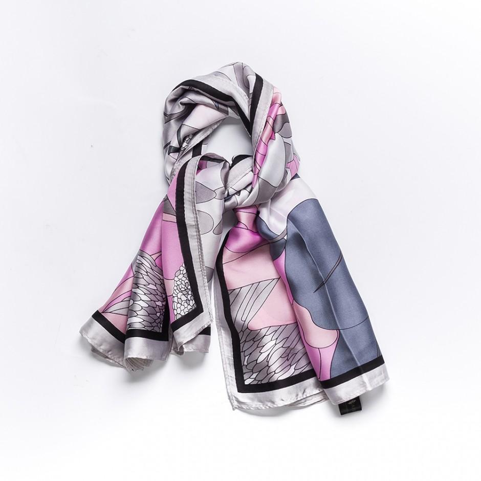 Pañuelo edén gris y rosa