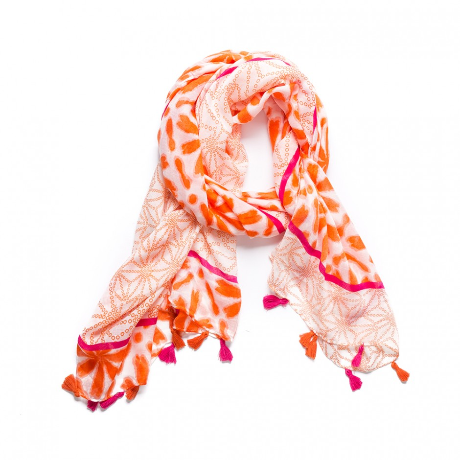 Pañuelo flecos naranja