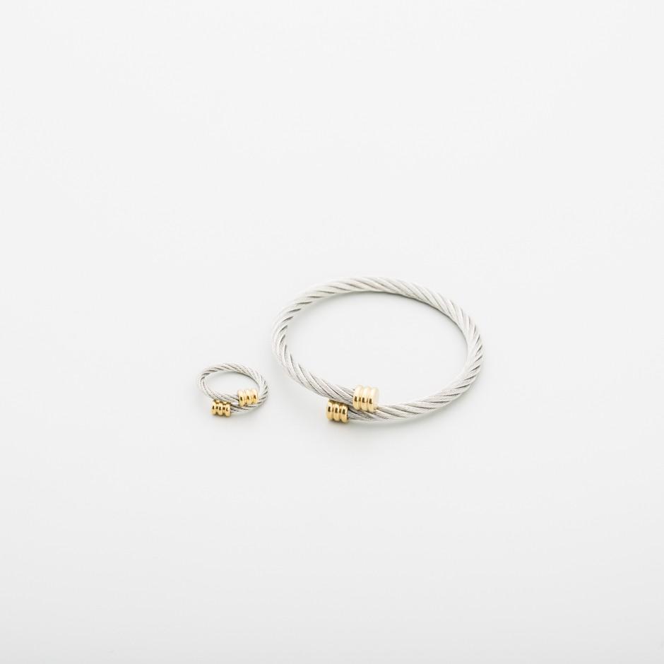 Set acero pulsera y anillo dorado