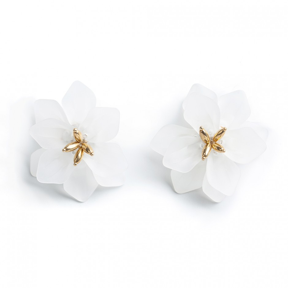 Pendiente flor maxi blanco