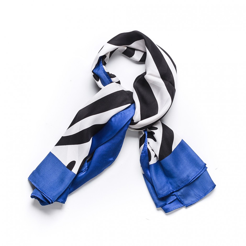 Pañuelo print cebra azul