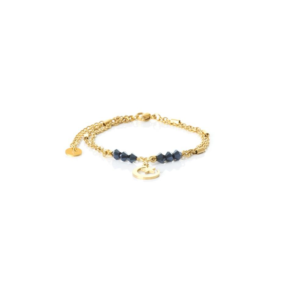 Pulsera cadena dorada y bolitas azul luna