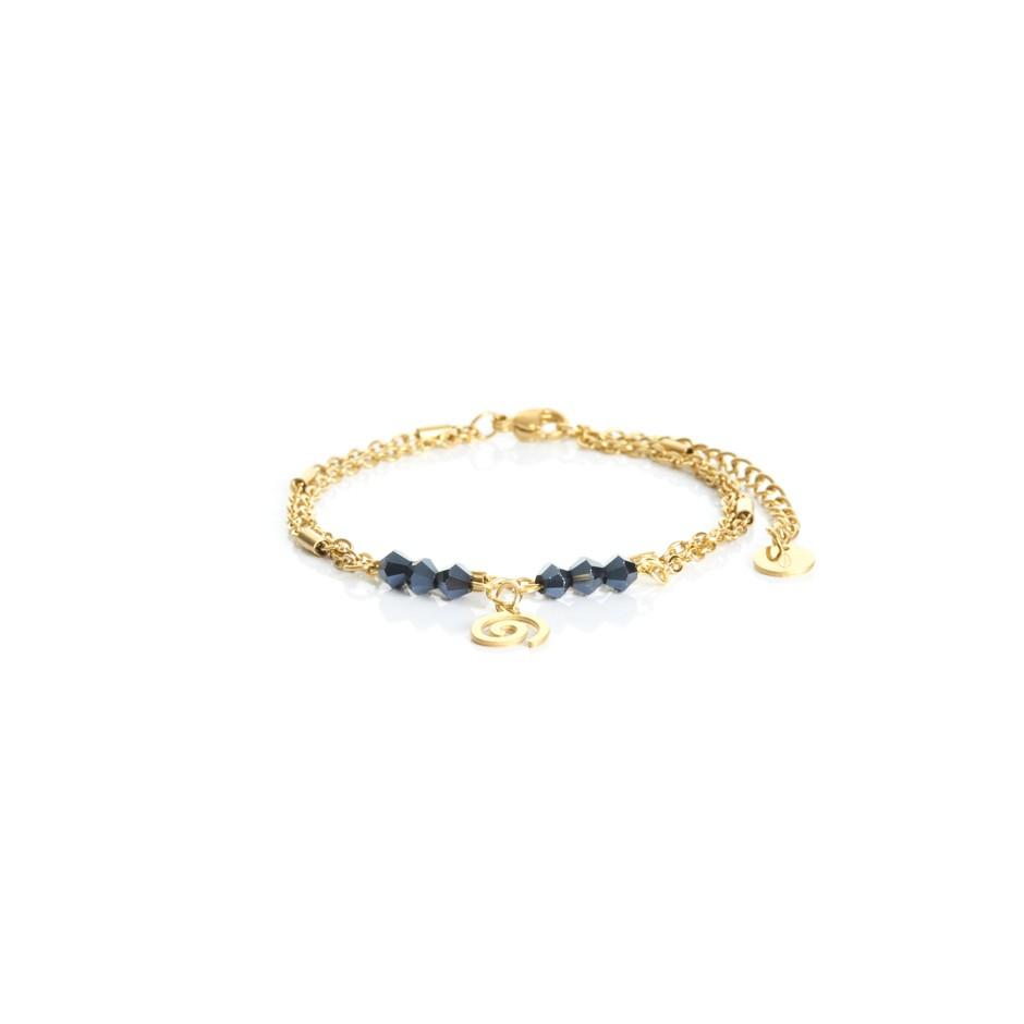 Pulsera cadena dorada y bolitas azul espiral