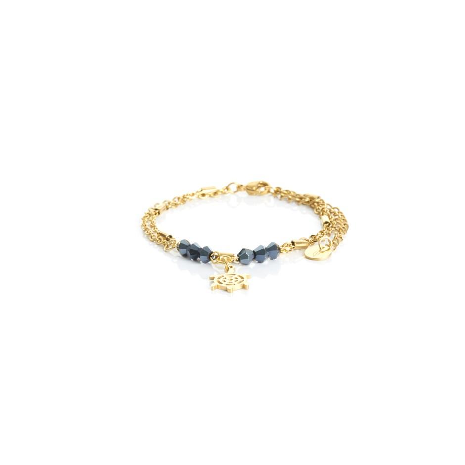Pulsera cadena dorada y bolitas azul tortuga