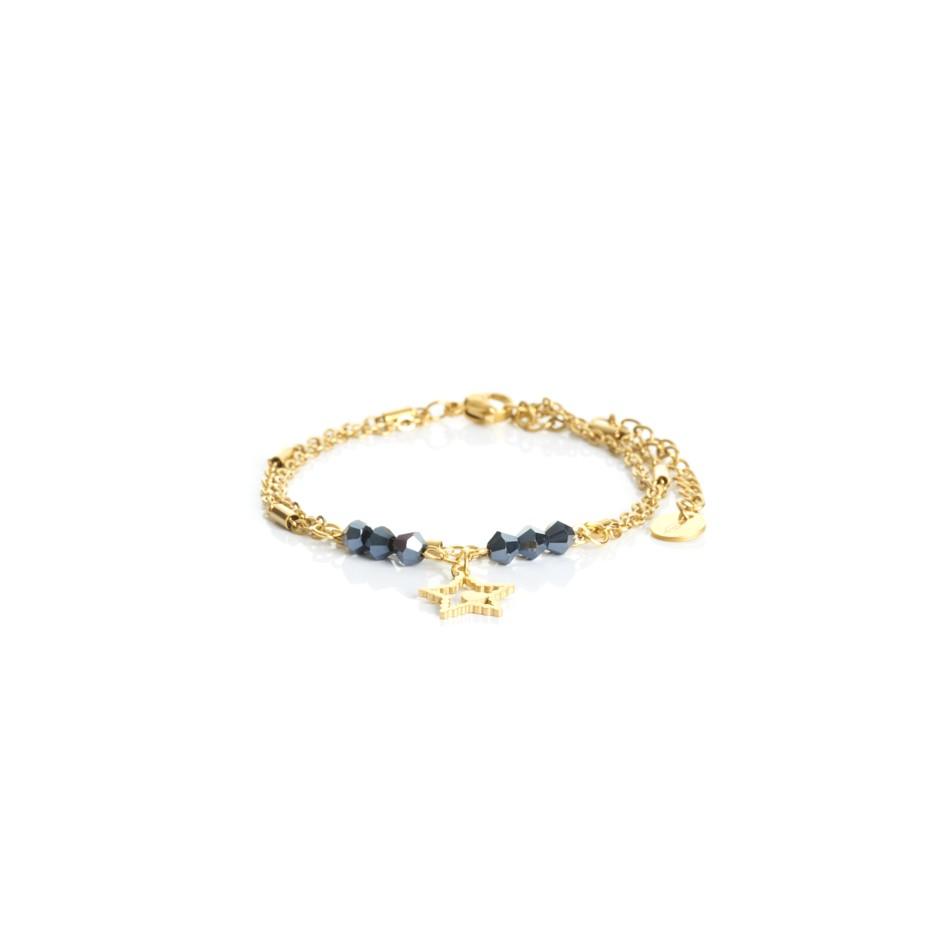 Pulsera cadena dorada y bolitas azul estrella