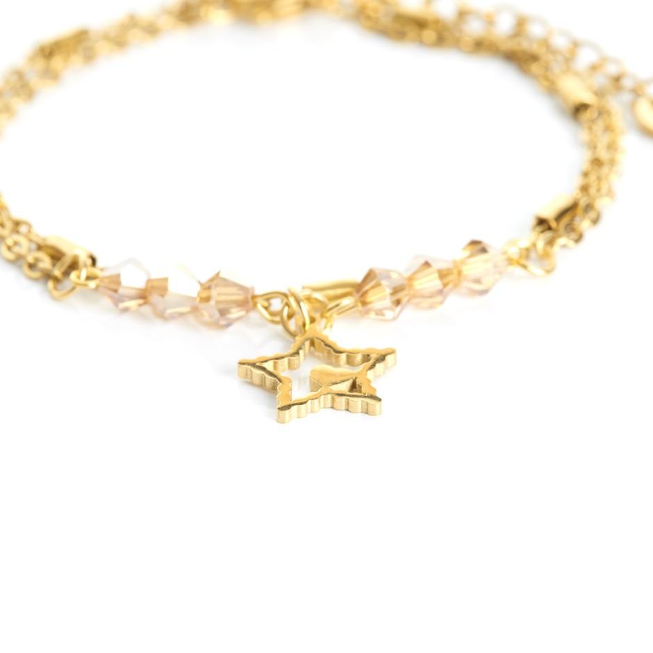 Pulsera cadena dorada y bolitas yellow estrella
