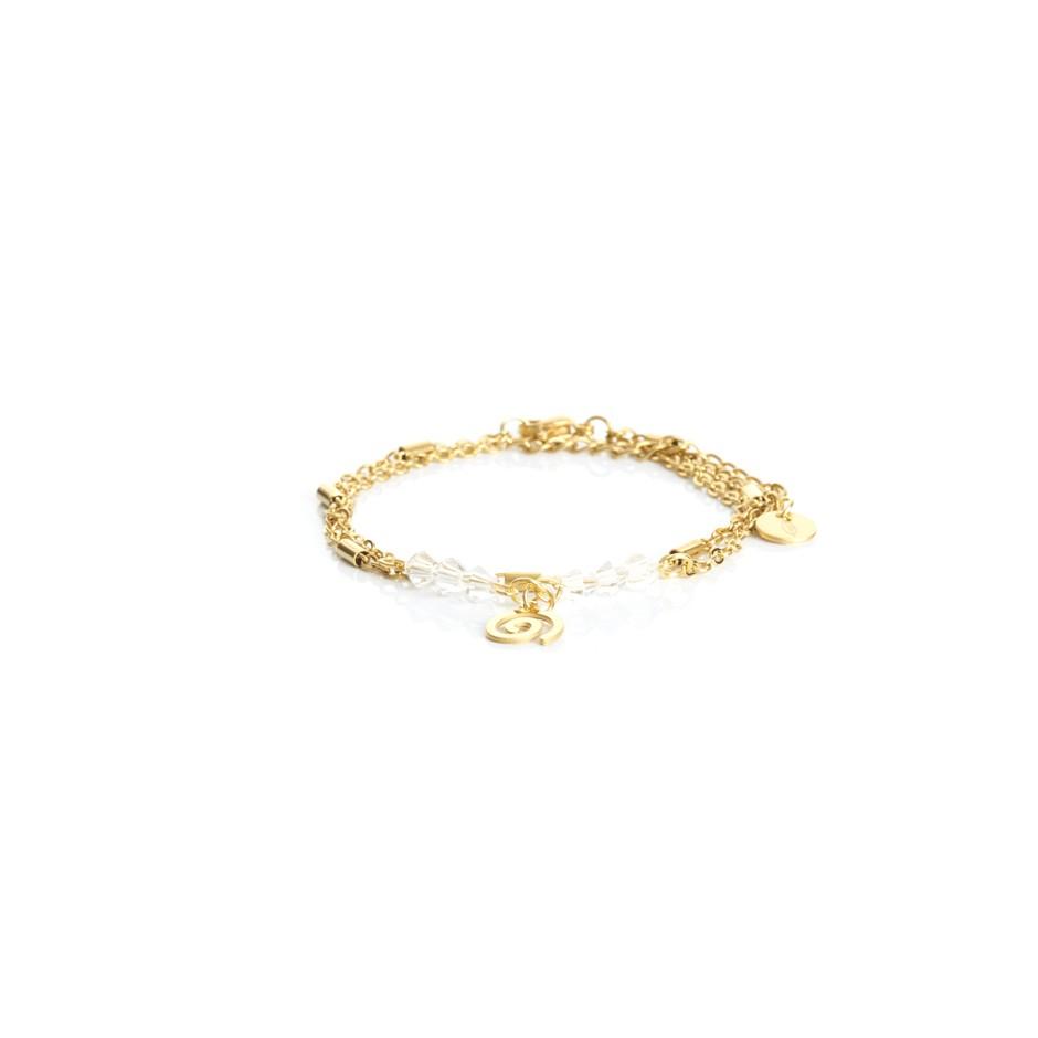 Pulsera cadena dorada y bolitas blancas espiral