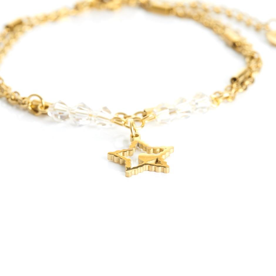 Pulsera cadena dorada y bolitas blancas estrella