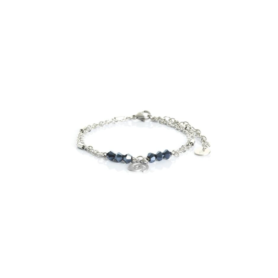 Pulsera cadena plateada y bolitas azul espiral