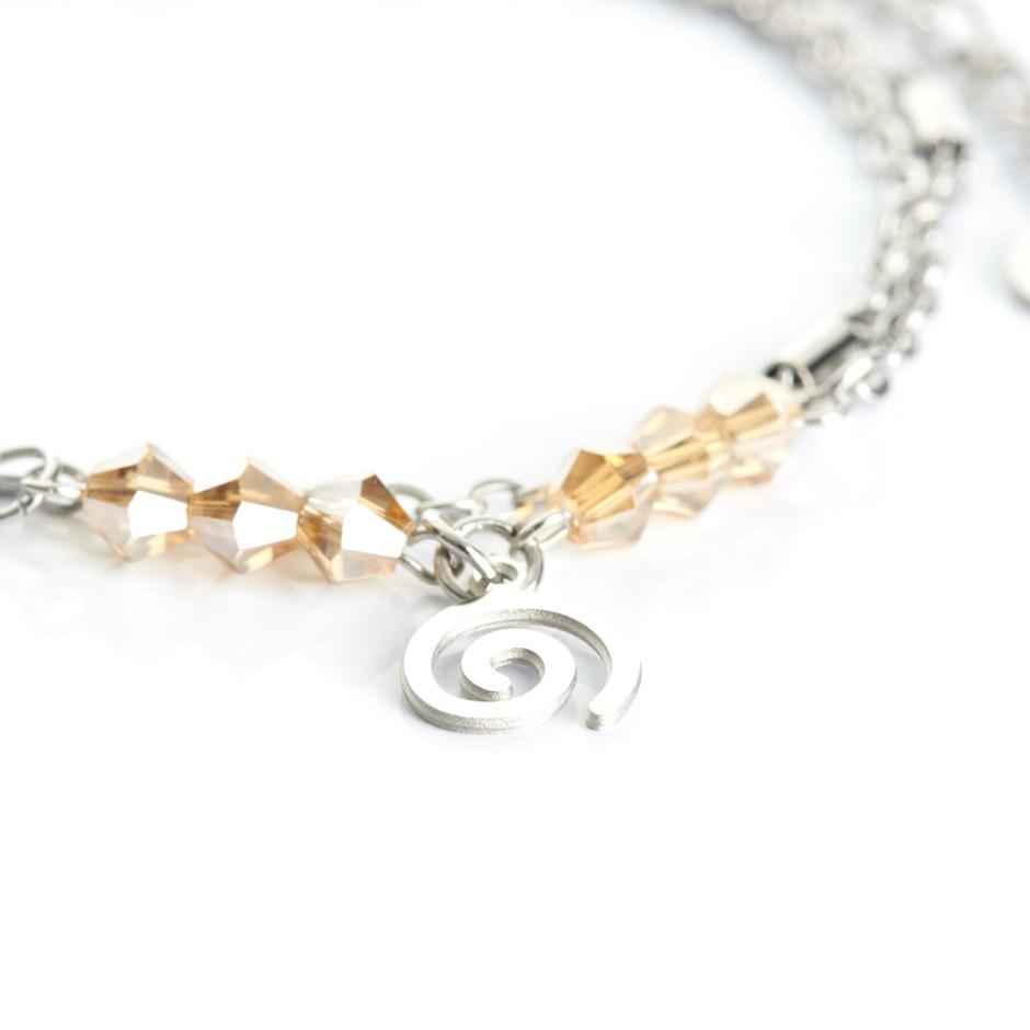 Pulsera cadena plateada y bolitas yellow espiral