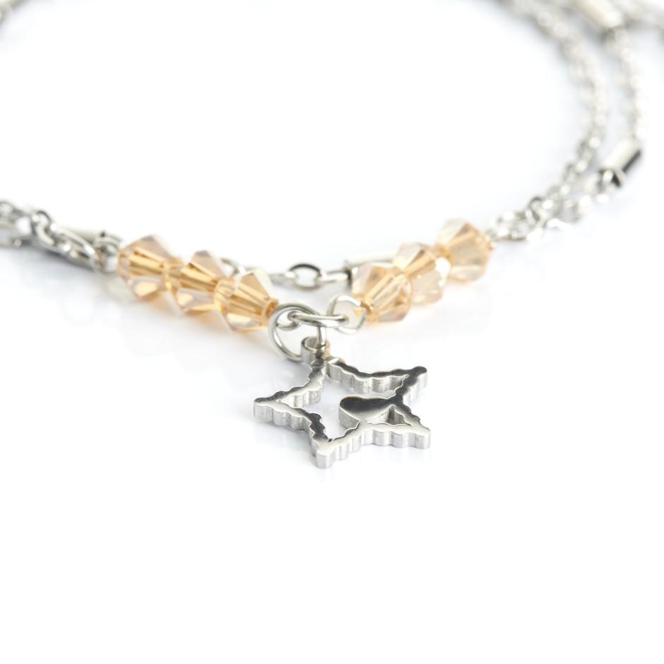 Pulsera cadena plateada y bolitas yellow estrella