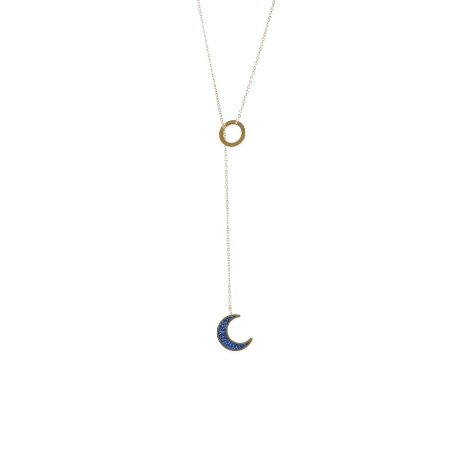Colgante leah luna dorado y azul