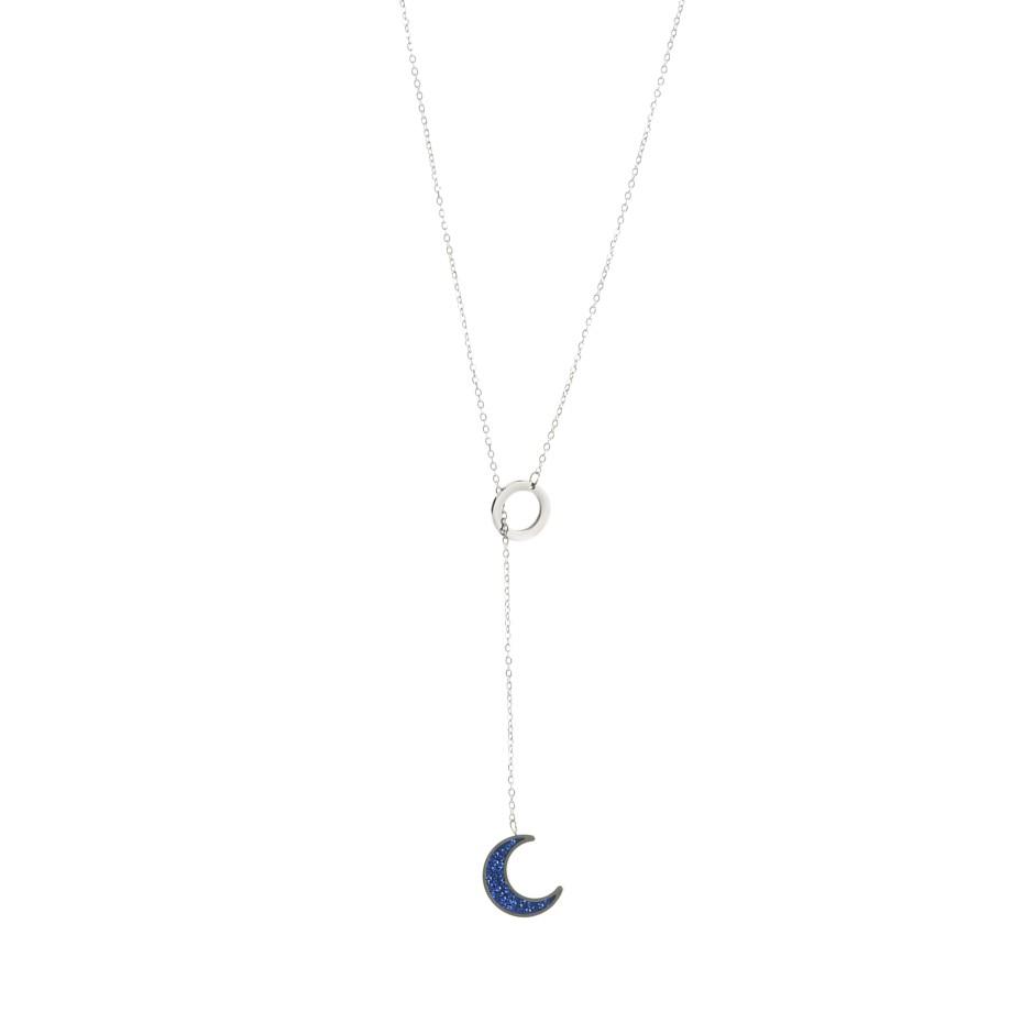 Colgante leah luna plateado y azul