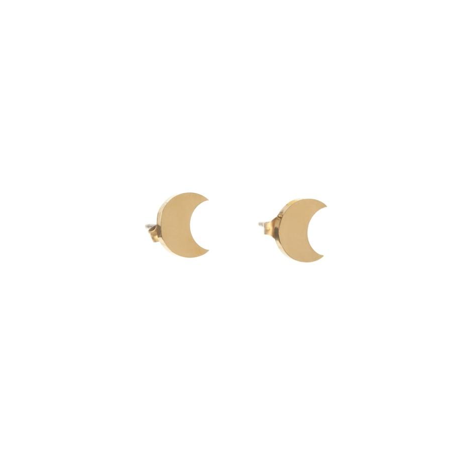 Pendiente mini luna dorada