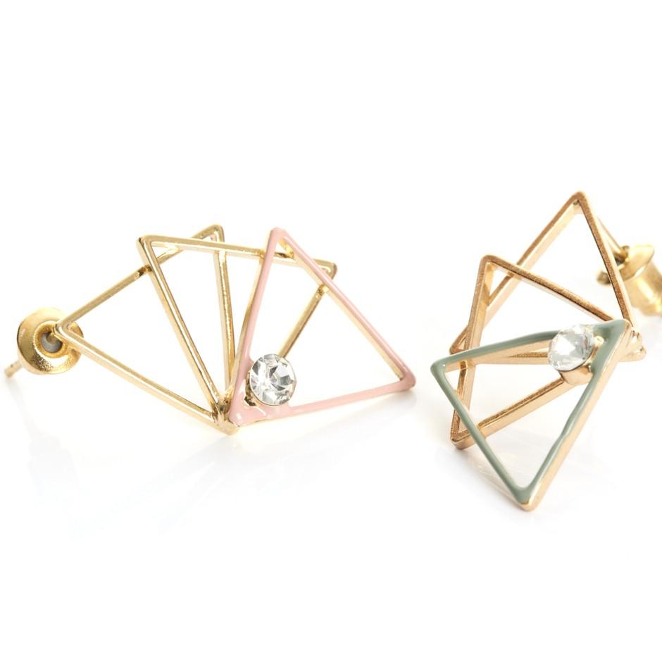 Pendiente triángulos rosa y verde