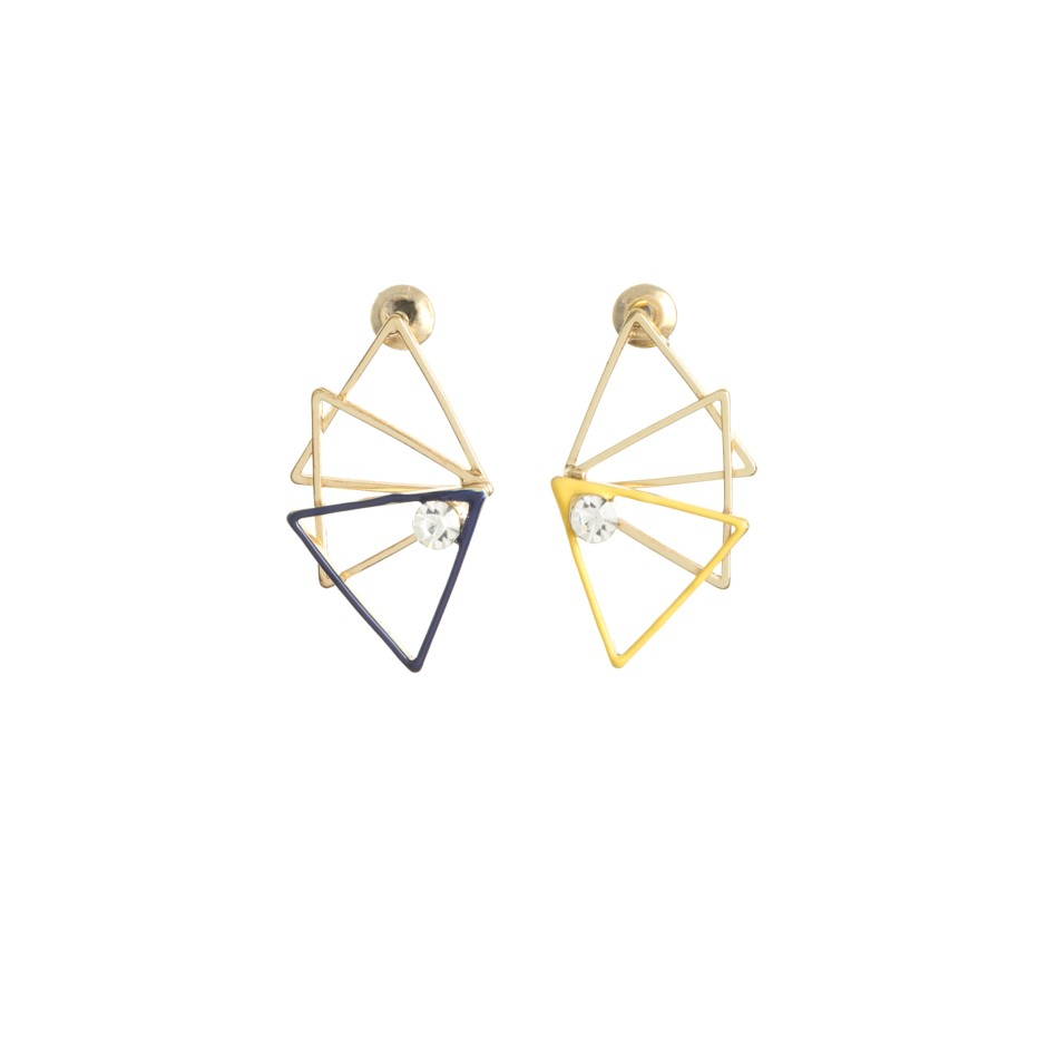 Pendiente triángulos amarillo y negro
