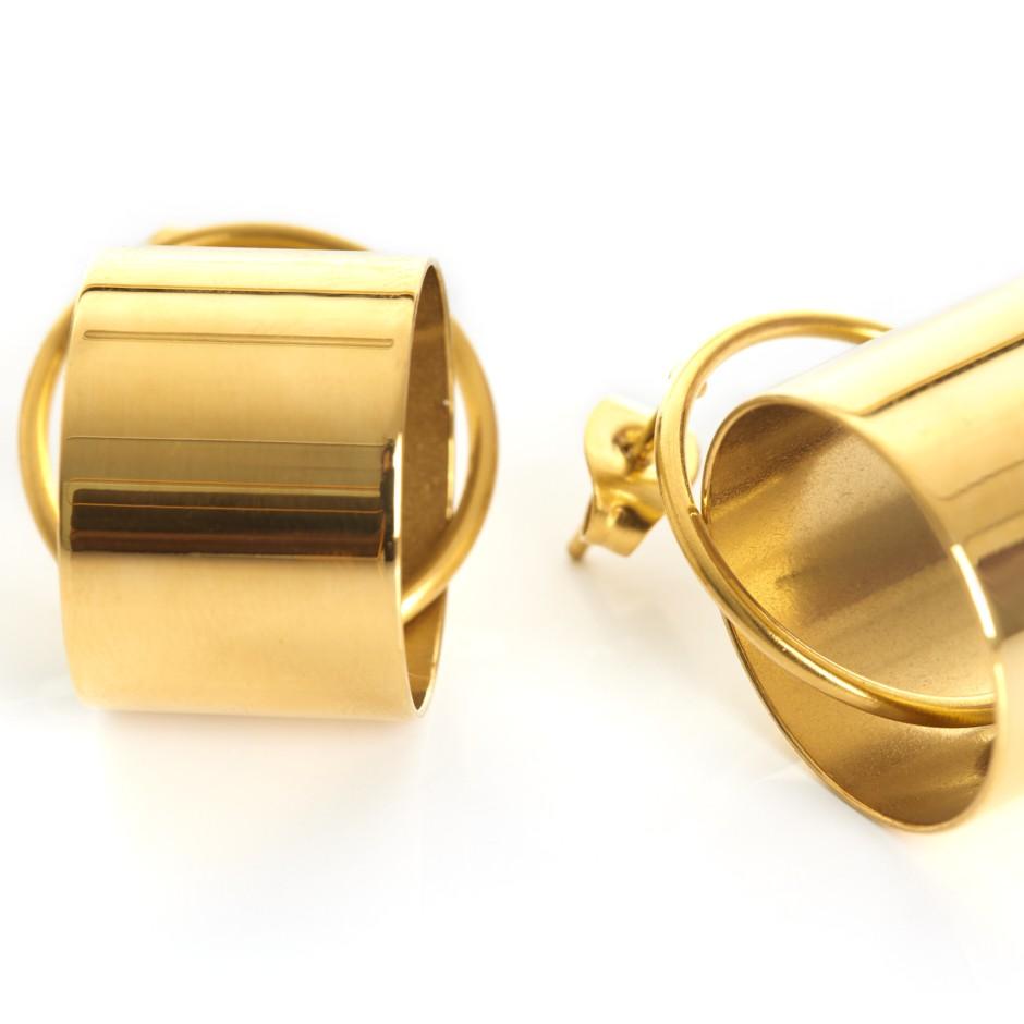 Pendiente aro y cilindro dorado