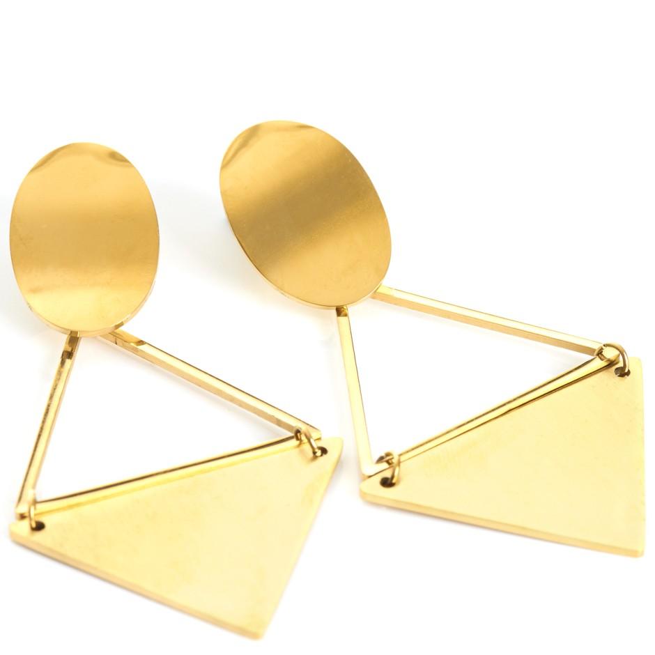 Pendiente pirámide dorado
