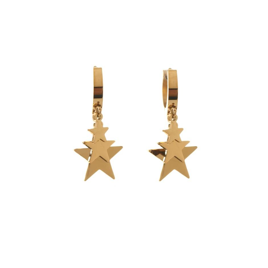 Pendiente aro y mini estrellas dorado