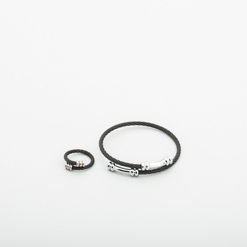 Set pulsera y anillo acero negro