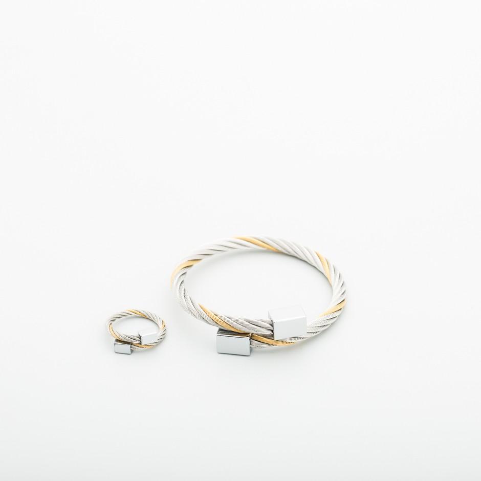 Set pulsera y anillo bicolor