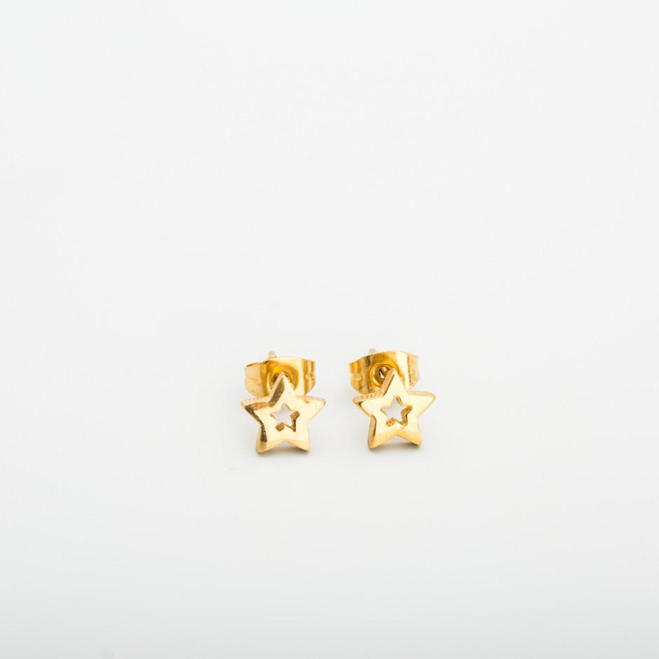 Pendiente acero estrella dorada