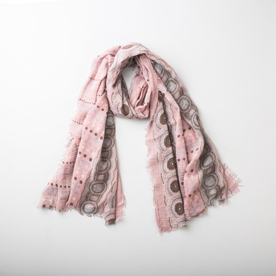 Fular rosa lunares colores